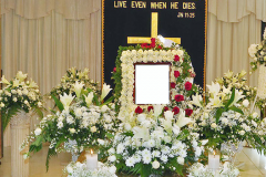 Flower arrangement for Christian funeral service in Singapore