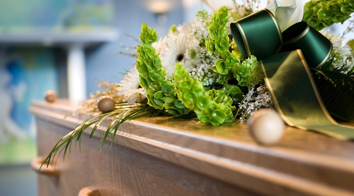 Singapore casket flowers at a funeral parlour